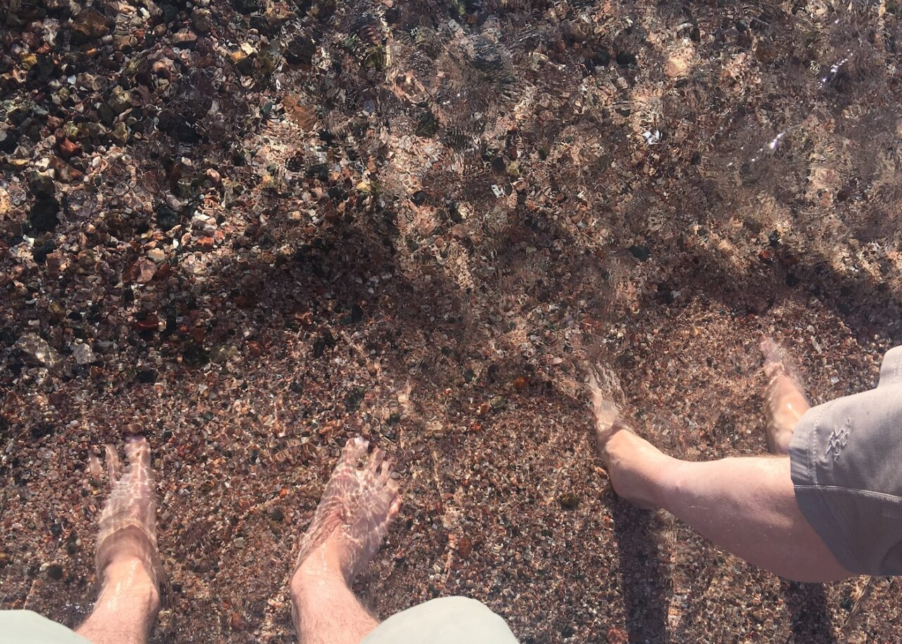 Toe Bath in the Red Sea – We. Came a long way for this