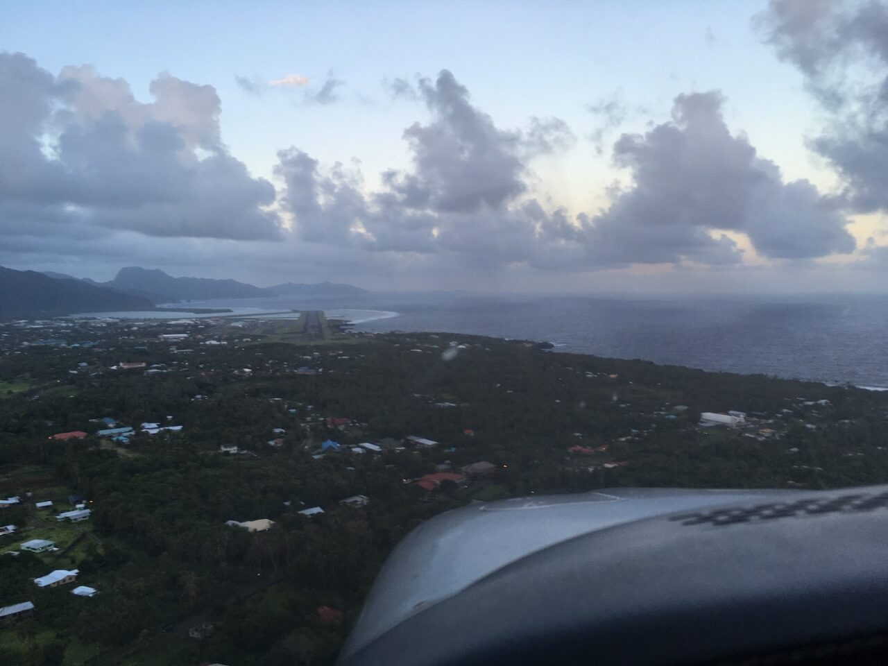 A – Pago Pago – Center – Airfield juts out into ocean and the waves crash along the sides, spraying onto the field – wild