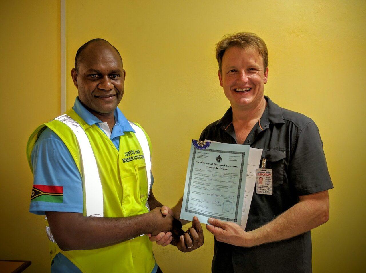 A – Vanuatu customs – Sandy lets me leave – with official docs