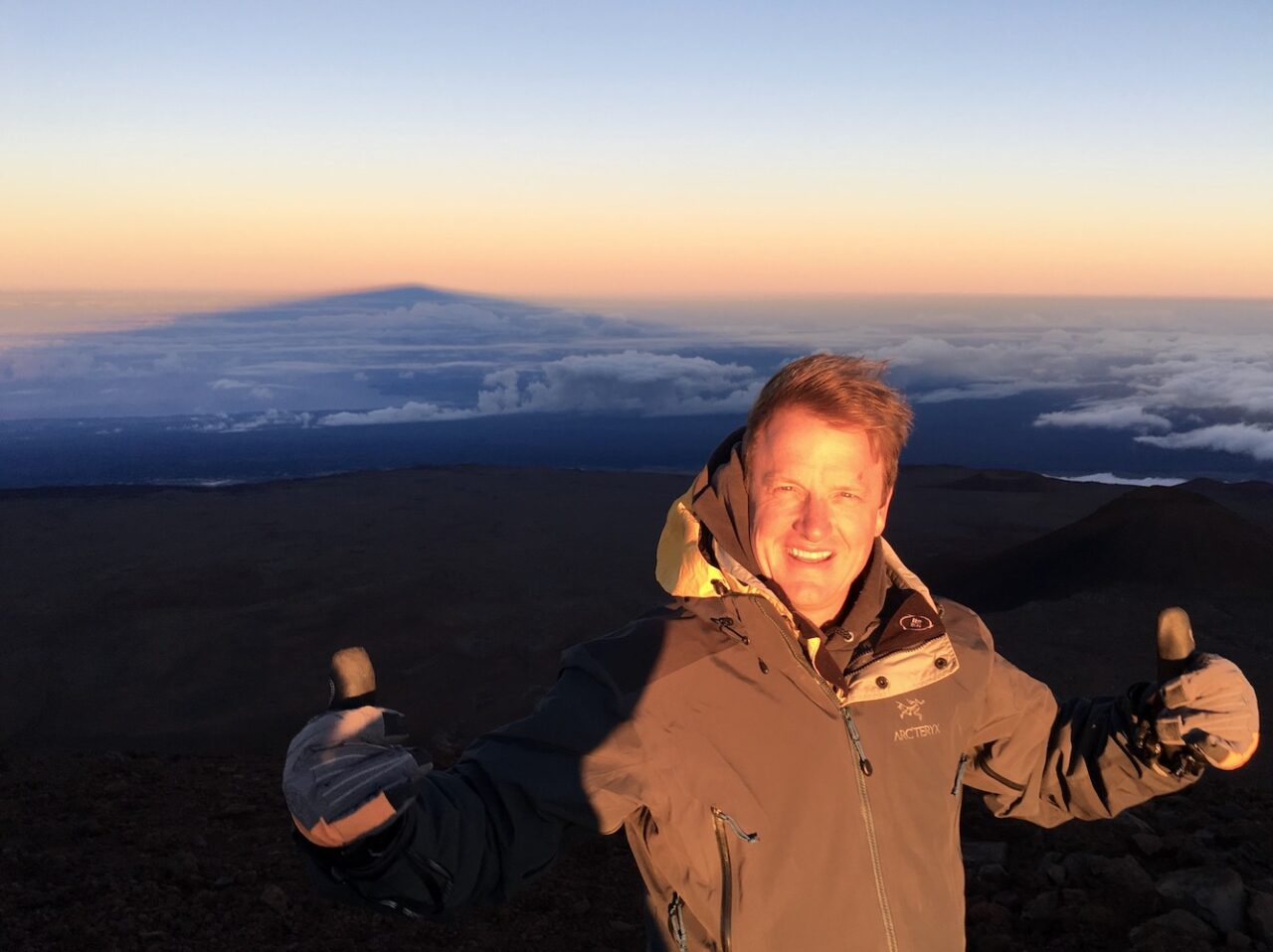 C – Mauna Kea casts the longest mountain shadow I have ever seen – world largest volcano