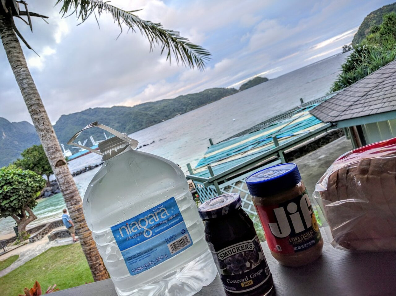 D – Dinner in paradise – return to the trusty PB and J diet