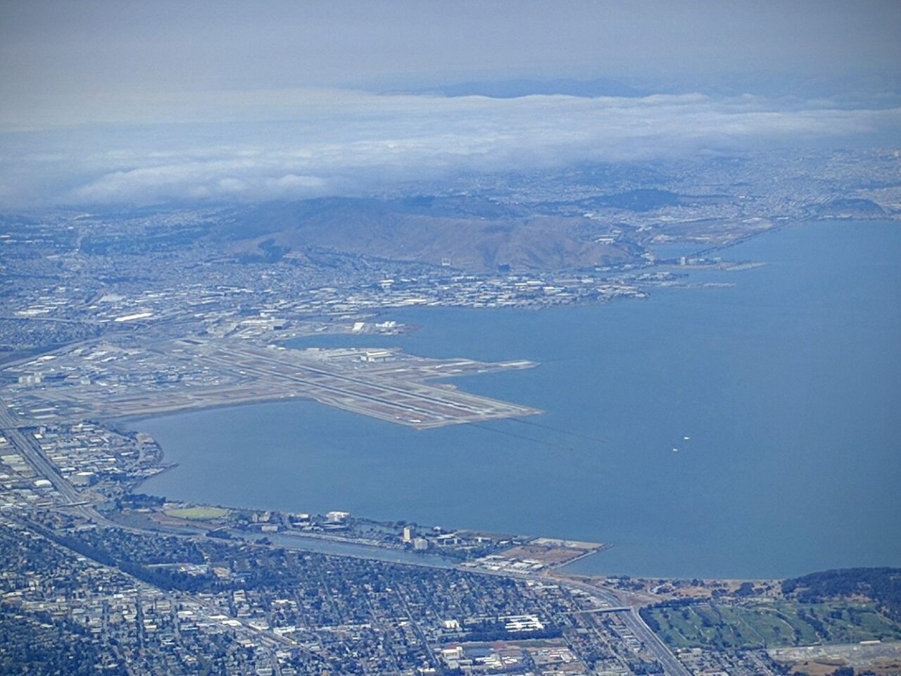 D – Entering the San Francisco harbor and watching the big birds land side by side at SFO Airport