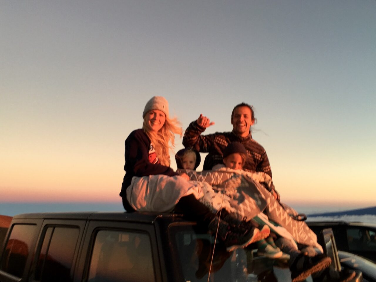 D – Family sunset time on Jeep on top of the world