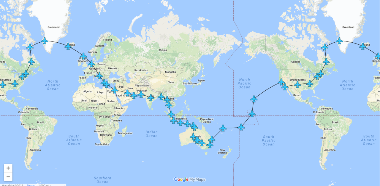 RTW 2016 – 100 Days – 39 Legs – 164 Flight Hours